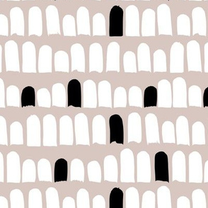 Scandinavian scallop abstract paint and brush stroke stripes and spots beige black and white