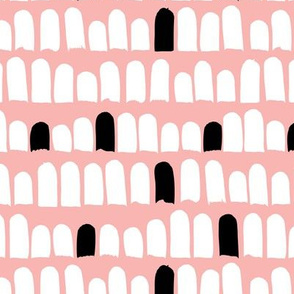 Scandinavian scallop abstract paint and brush stroke stripes and spots pink black and white