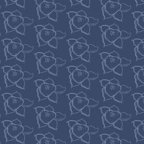 Floral Dark Blue Periwinkle Gray Grey Flower Simple Traditional _Miss Chiff Designs