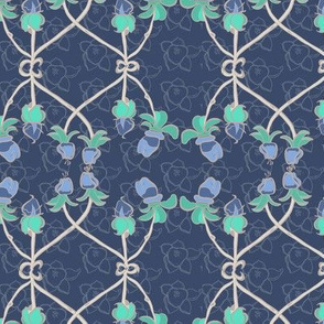 16-02v Periwinkle Floral Grey gray trellis jade sea green purple _Miss Chiff Designs