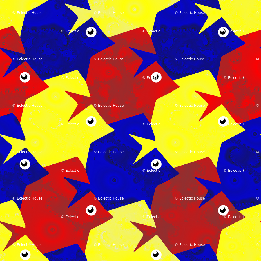 Tesselating Fish Fractal Primary Colors fabric - eclectic_house ...