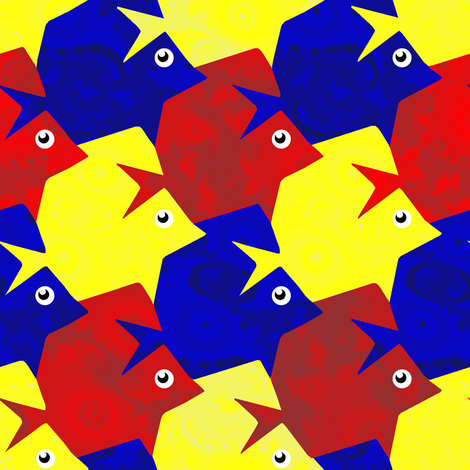 tesselating fish fractal primary colors fabric eclectic house