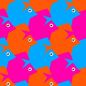 Tesselating Fish Vivid Pink Orange Sky