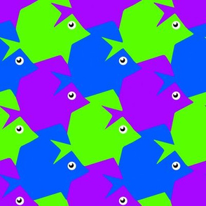Tesselating Fish Blue Green Purple