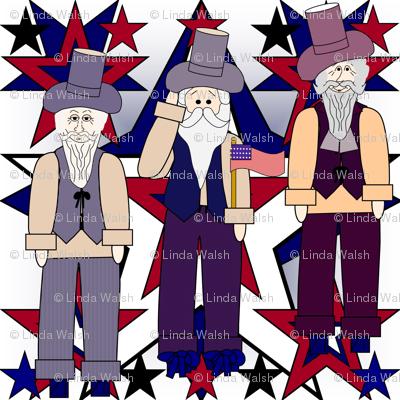 Patriotic, Americana, 4th of July Primitive Stars Fabric #11