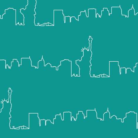 New York Skyline // Teal fabric by thinlinetextiles on Spoonflower - custom fabric