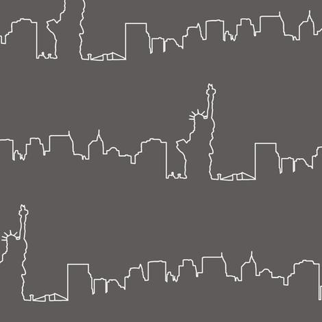 New York Skyline // Asphalt Gray  fabric by thinlinetextiles on Spoonflower - custom fabric