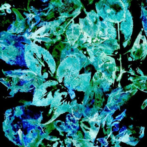 All-Over Rose Leaves I in blues and greens