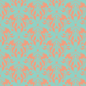 Mermaid Damask coral/neptune