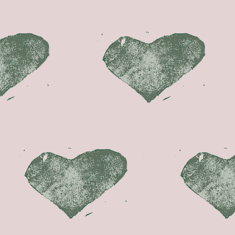 stamped with love - sage green and pink fabric by ali*b on Spoonflower - custom fabric