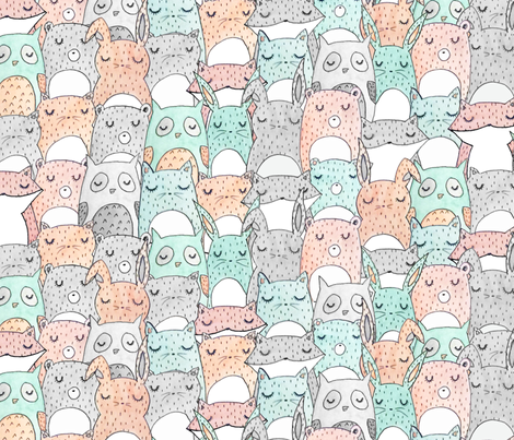 Animal Friends fabric by hikomari on Spoonflower - custom fabric