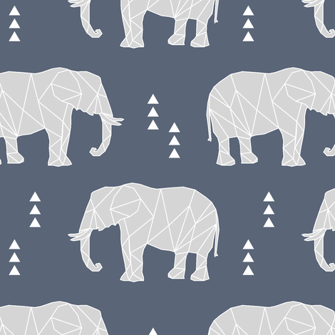 Geometric Elephant // dark blue fabric by littlearrowdesign on Spoonflower - custom fabric