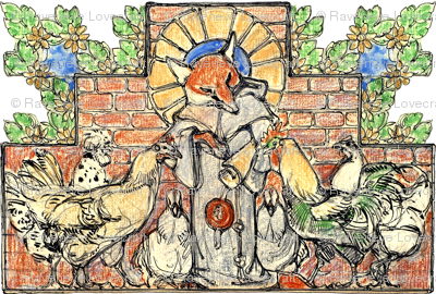 animals foxes chickens hens roosters birds medieval monks priests friar plants flowers leaves leaf