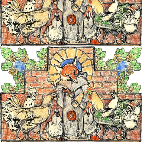 animals foxes chickens hens roosters birds medieval monks priests friar plants flowers leaves leaf fabric by raveneve on Spoonflower - custom fabric