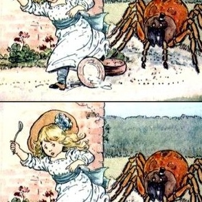 little miss muffet poems children girls spiders nursery rhymes fairy tales gardens flowers tarantulas vintage retro kitsch eating Arachnophobia