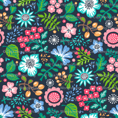 Bohemian Botanical Flowers Floral on Navy