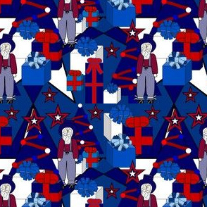 Patriotic Uncle Sam, Patriotic, 4th of July, Red, White & Blue Trees, Stars, and Presents Fabric #13