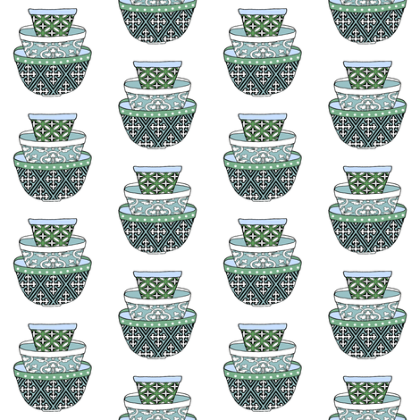 Retro Green & Blue Bowls fabric by shopcabin on Spoonflower - custom fabric