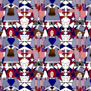Patriotic Raggedy Annie and Andy Primitive, Patriotic, Americana, 4th of July, Red, White & Blue Stars & Liberty Bell Fabric #14