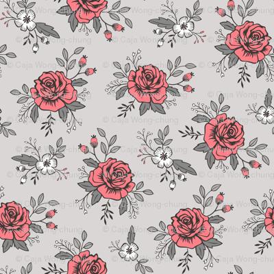 Rose and Flower on Grey Valentine Floral