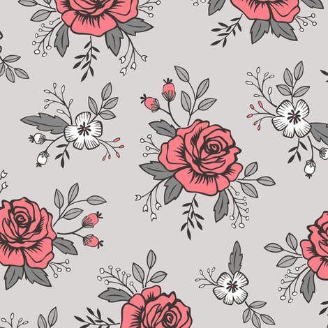 Rose and Flower on Grey Valentine Floral fabric by caja_design on Spoonflower - custom fabric