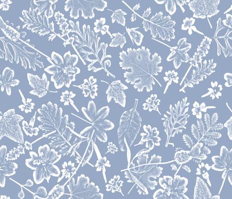 placid blue foliage fabric by mypetalpress on Spoonflower - custom fabric