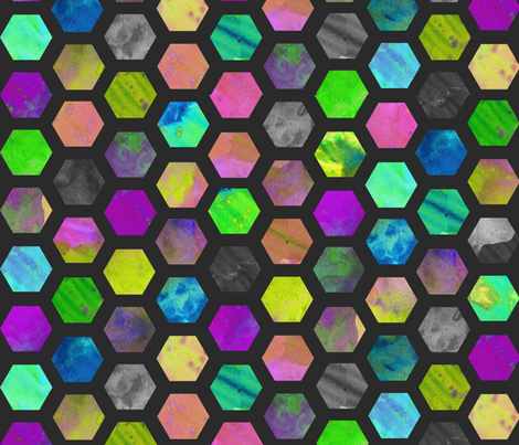 Hexagons in Black fabric by mscloud on Spoonflower - custom fabric