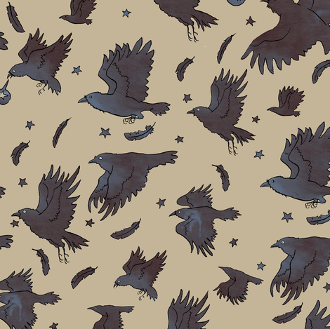 Flight of Ravens fabric by tanaudel on Spoonflower - custom fabric