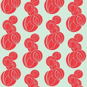 Stylized Marble Pattern in red and mint