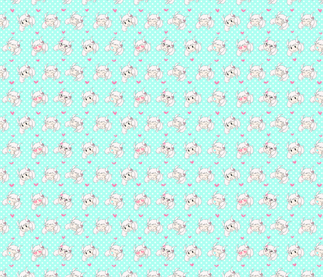 flashmoji -- mint fabric by milkdreams on Spoonflower - custom fabric