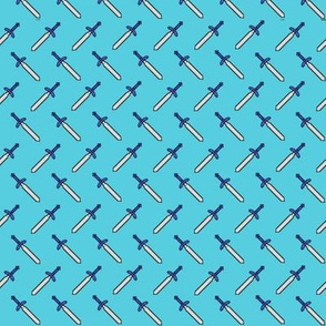 Pixel Swords on Blue
