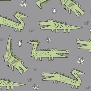 Alligators Crocodile Green on Grey