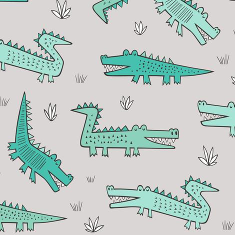 Alligators Crocodile Mint Green  fabric by caja_design on Spoonflower - custom fabric