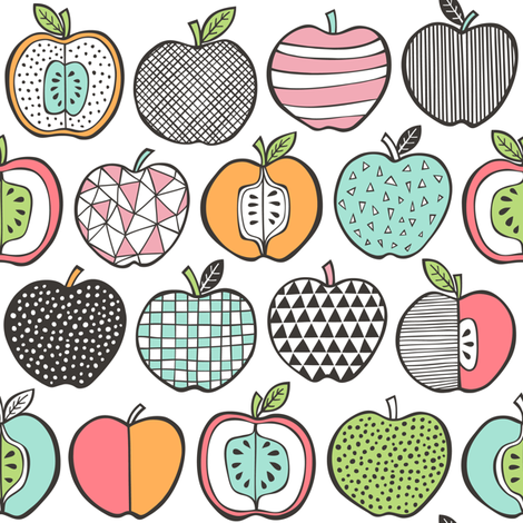 apples on white fabric cajadesign spoonflower