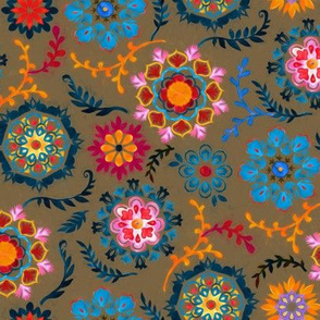 Suzani inspired flowers on dark brown - small
