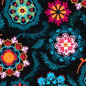 Suzani Inspired Flowers on Black - large