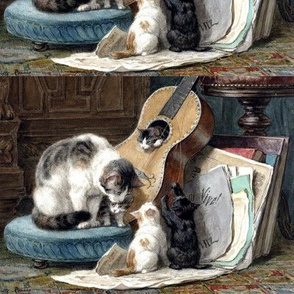 cats kittens mother children pussy family guitars music musical notes vintage antique