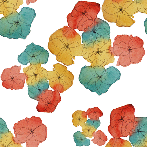 Watercolor Pansies in Vintage Tones fabric by thinlinetextiles on Spoonflower - custom fabric