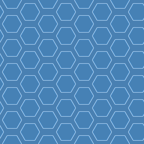 Blue Hexagon fabric by s73obrien on Spoonflower - custom fabric