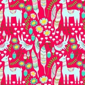 Llama / Alpaca Bright Pink Floral