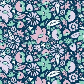 Betty - Floral Blue Aqua Purple