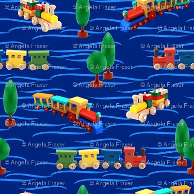 trains | dark blue | 12 x 12 inch