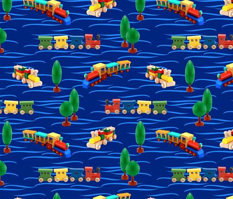trains | dark blue | 12 x 12 inch fabric by angelfraser on Spoonflower - custom fabric