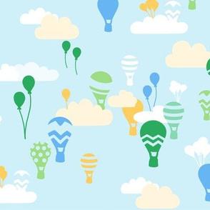 Hot air balloons blue