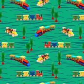 trains   green   12 x 12 inch