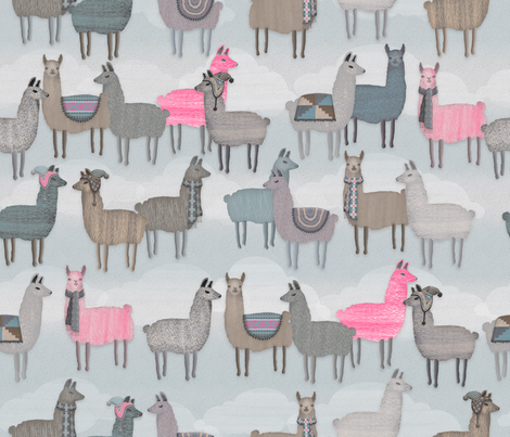 Wooly_Llamas Large fabric by j9design on Spoonflower - custom fabric