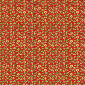 yellow leaves on red background