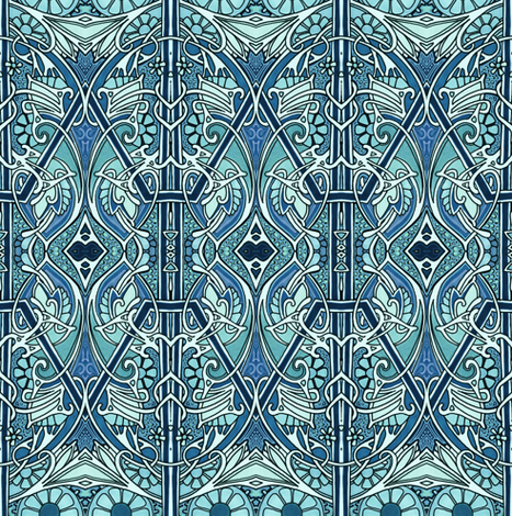 Indigo Go Goes Art Nouveau fabric by edsel2084 on Spoonflower - custom fabric