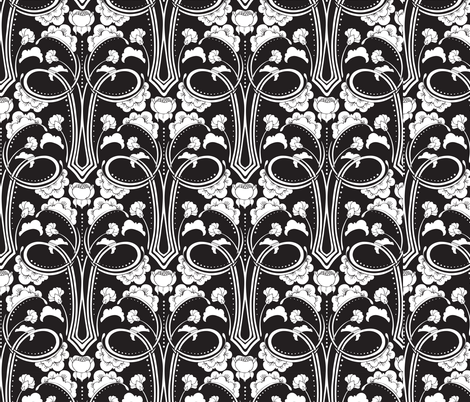 Black and White Deco Floral fabric by hairpik on Spoonflower - custom fabric