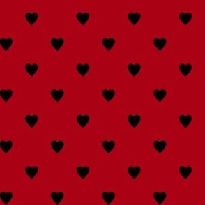 Black Hearts on Dark Red